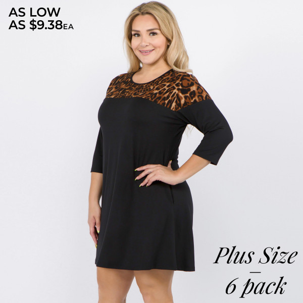"""Leopard print A-Line plus tunic dress. Approximately 33"""" in length.  • 3/4 length sleeves  • Round neckline  • Cheetah print detail on shoulder  • Two side seam pockets to keep hands warm  • A-line silhouette  • Above the knee length hem  • Soft and comfortable fabric with stretch  • Imported   - Pack Breakdown: 6pcs / pack  - Sizes: 2-XL / 2-1X / 2-2X  - Composition: 95% Polyester, 5% Spandex"""