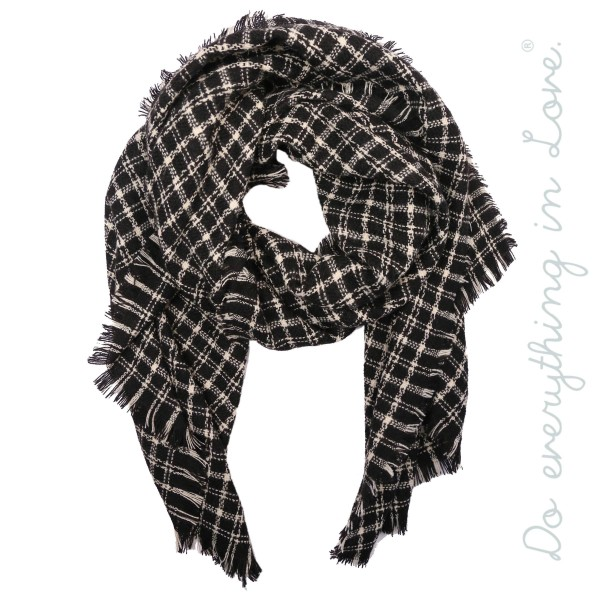 """Do everything in Love brand plaid scarf with frayed edges.  - Approximately 30"""" W x 72"""" L - 65% Acrylic, 35% Polyester"""