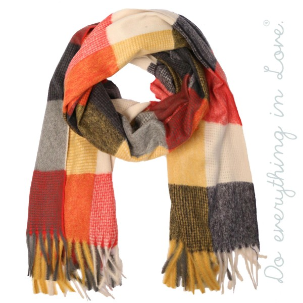 """Do everything in Love brand soft touch color block scarf with fringes.  - Approximately 25"""" W x 80"""" L - 100% Polyester"""