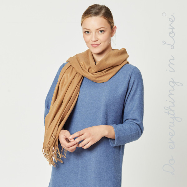 """Do everything in Love brand solid color oblong scarf with fringes.  - Approximately 26"""" W x 80"""" L - 100% Polyester"""