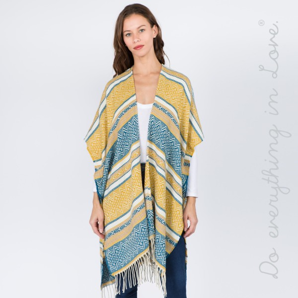 """Do everything in Love brand ethnic stripe kimono with fringes.   - One size fits most 0-14 - Approximately 37"""" L  - 65% Acrylic, 35% Polyester"""