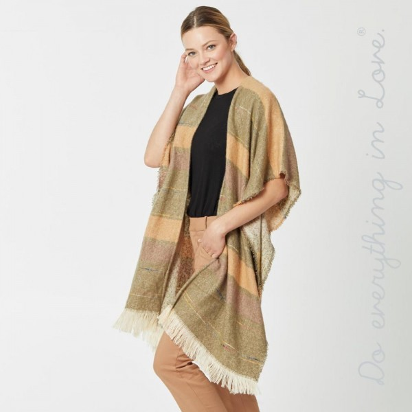 "Do everything in Love brand soft touch multicolor stripe kimono with frayed edges.  - One size fits most 0-14 - Approximately 37"" L - 50% Acrylic, 50% Polyester"