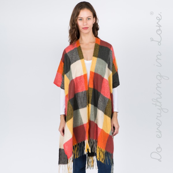 "Do everything in Love brand buffalo plaid print kimono with fringes.  - One size fits most 0-14 - Approximately 37"" L - 100% Polyester"