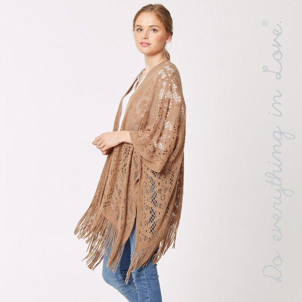 "Do everything in Love brand crochet knit kimono with fringes.  - One size fits most 0-14 - Approximately 32"" L - 100% Acrylic"