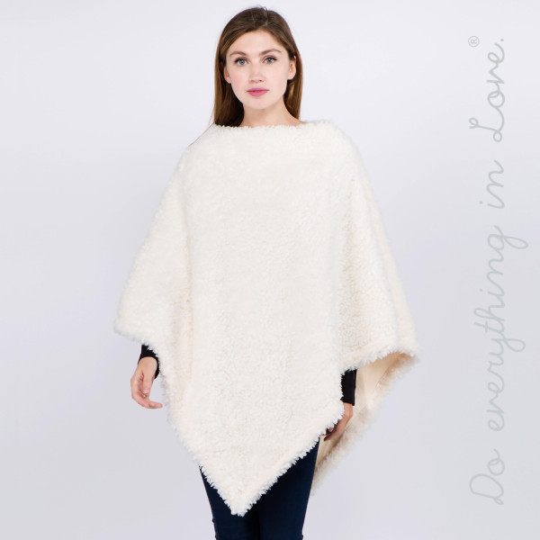 """Do everything in Love brand solid color faux fur poncho.  - One size fits most 0-14 - Approximately 36"""" L - 100% Polyester"""