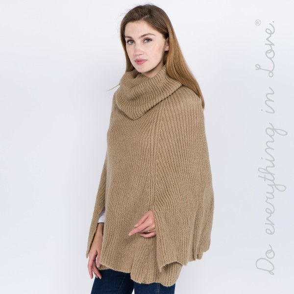 "Do everything in Love brand solid color marled woven turtleneck poncho with side slit details.  - One size fits most 0-14 - Approximately 28"" L - 100% Acrylic"