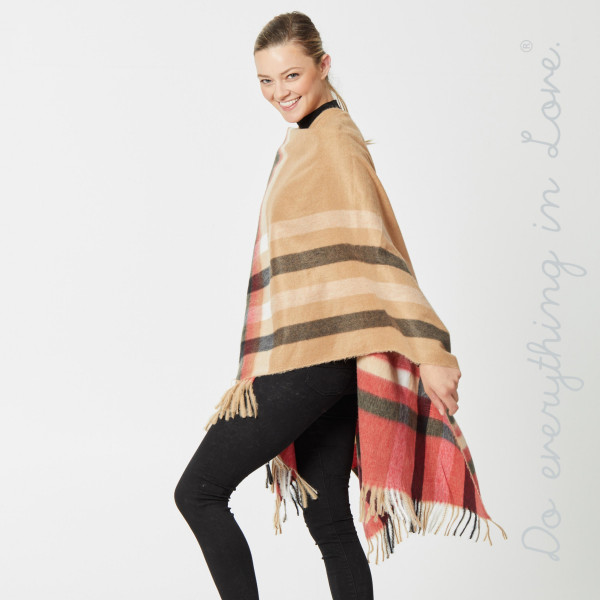 """Do everything in Love brand enlarged plaid print cozy ruana with fringes.  - One size fits most 0-14 - Approximately 36"""" in length - 50% Cotton, 50% Polyester"""