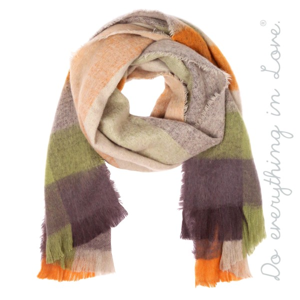 """Do everything in Love brand enlarged plaid print scarf with frayed edges.  - Approximately 21.5"""" W x 74"""" L - 100% Polyester"""