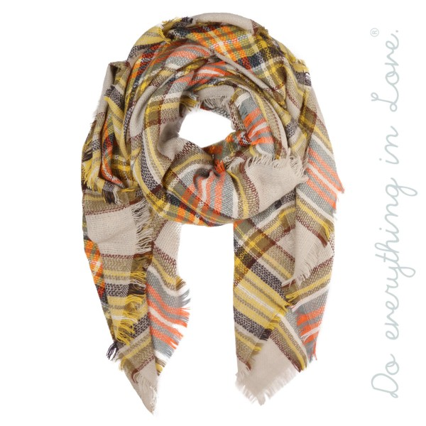 "Do everything in Love brand plaid blanket scarf with frayed edges.  - Approximately 55"" x 55"" - 100% Acrylic"