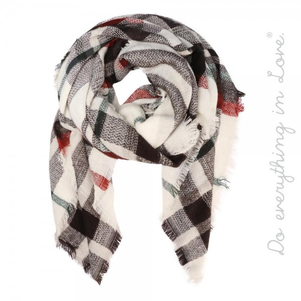 """Do everything in Love brand plaid blanket scarf with frayed edges.  - Approximately 55"""" x 55"""" - 100% Acrylic"""
