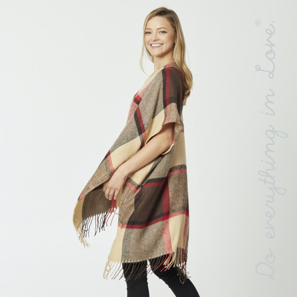 "Do everything in Love brand herringbone plaid print kimono with fringes.  - One size fits most 0-14 - Approximately 39"" L - 100% Acrylic"