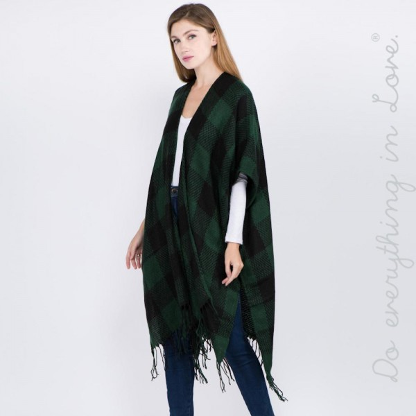 "Do everything in Love brand buffalo check kimono with fringes.  - One size fits most 0-14 - Approximately 39"" L - 100% Acrylic"