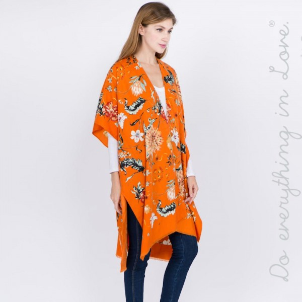 "Do everything in Love brand floral print kimono.  - One size fits most 0-14 - Approximately 37"" L - 100% Polyester"
