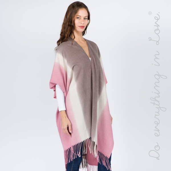 "Do everything in Love brand tie die kimono with fringes.  - One size fits most 0-14 - Approximately 37"" L - 70% Polyester, 30% Viscose"