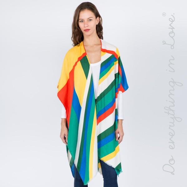 """Do everything in Love brand color block stripe kimono.  - One size fits most 0-14 - Approximately 37"""" L - 100% Polyester"""