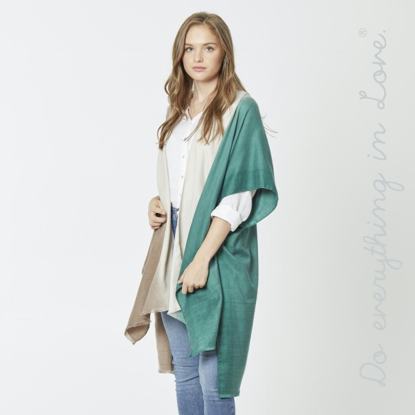 """Do everything in Love brand ombre color block kimono.  - One size fits most 0-14 - Approximately 37"""" L - 100% Polyester"""