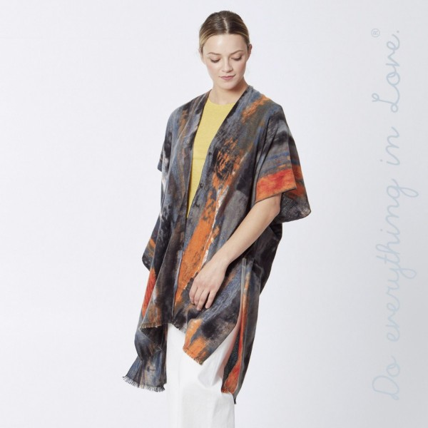 """Do everything in Love brand multicolor marble print kimono.  - One size fits most 0-14 - Approximately 37"""" L - 100% Polyester"""