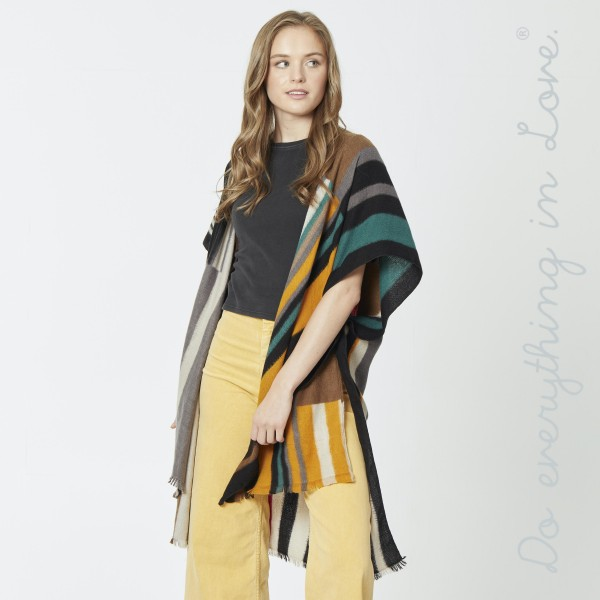 """Do everything in Love brand multi color block stripe kimono.  - One size fits most 0-14 - Approximately 37"""" L - 100% Polyester"""