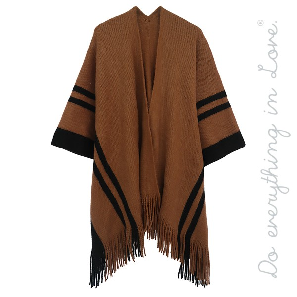 Do everything in Love brand stripe bordered ruana/shawl with fringes.  - One size fits most 0-14 - Approximately  - 100% Acrylic