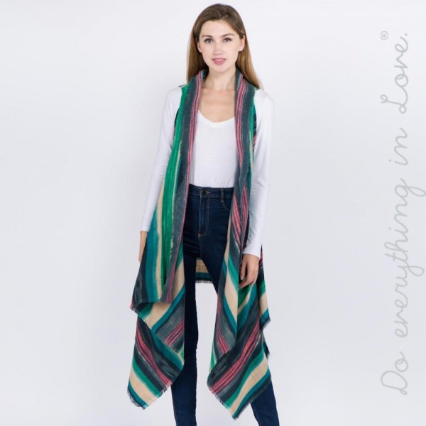 """Do everything in Love brand multicolor striped vest with raw edges.  - Approximately 36"""" L, longest length 46"""" L - 100% Acrylic"""
