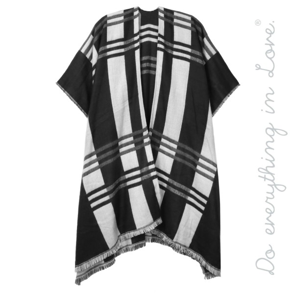 "Do everything in Love brand plaid print kimono with frayed edges.  - One size fits most 0-14 - Approximately 36"" L - 100% Acrylic"