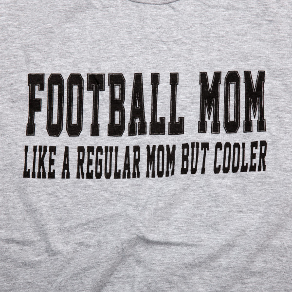 "Heather Grey Anvil short sleeve boutique graphic tee featuring ""Football Mom Like A Regular Mom But Cooler"".  - Pack Breakdown: 6pcs / pack - 1-S / 2-M / 2-L / 1-XL - 90% Cotton, 10% Polyester"