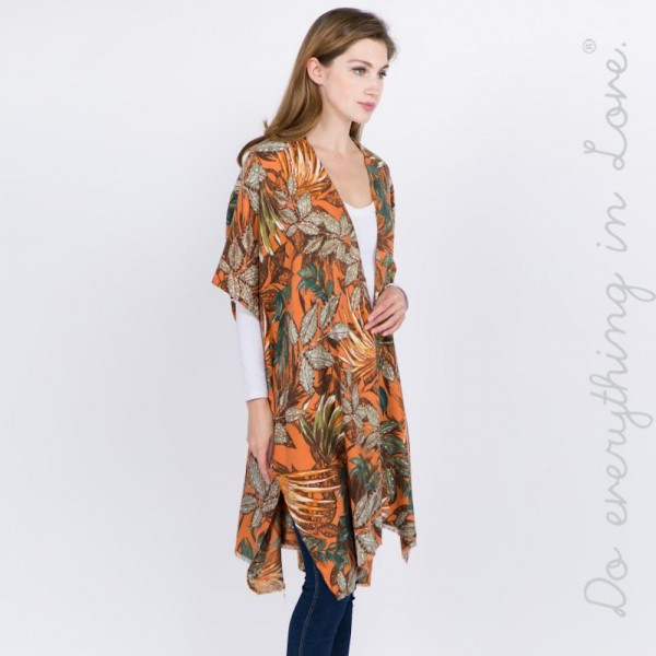 """Do everything in Love brand tropical floral print kimono.  - One size fits most 0-14 - Approximately 37"""" L - 100% Polyester"""