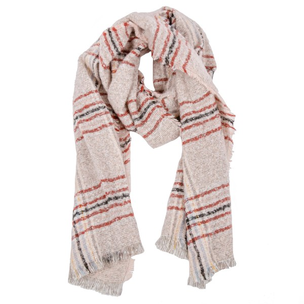 """Boucle multicolor plaid blanket scarf.   - Approximately 19"""" W x 78"""" L - 100% Polyester"""