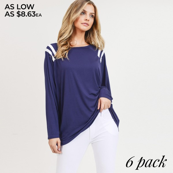 """Women's varsity striped domain long sleeve top.  • Dolman sleeves • Round neckline • Striped shoulder detail • Oversized silhouette • Soft and comfortable fabric with stretch • Imported  - Pack Breakdown: 6pcs/pack - Sizes: 2S / 2M / 2L - Approximately 28"""" in length - 95% Rayon, 5% Spandex"""