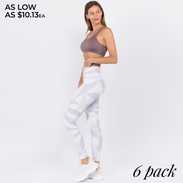 """High rise geometric print athletic leggings. Inseam approximately 28"""" in length.  • High rise waistband with a hidden pocket for cash or keys  • Geometric print design  • 4-way stretch for a move with you feel  • Moisture wick fabric  • Flatlock stitch seams reduce chafing  • Triangle gusset eliminates camel toe  • Full length  • Pull on/off styling  • Fits like a glove  • Perfect for the gym, yoga, zumba, hiking  • Imported  - Pack Breakdown: 6pcs / pack - Sizes: 2-S / 2-M / 2-L - Composition: 46% Polyester, 41% Nylon, 13% Spandex"""