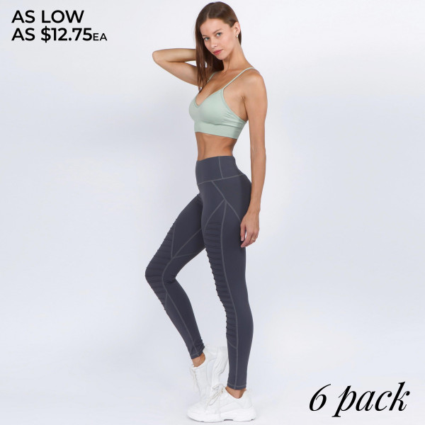 """High rise moto athletic leggings. Inseam approximately 27"""" in length.  • High rise waistband with back zipper pocket for cash or phone  • Sewn in moto knit ridges  • 4-way stretch fabric for a move with you feel  • Fits like a glove  • Flatlock seams prevent chafing  • Triangle gusset for coverage  • Soft nylon-blend fabrication with a cotton feel  • Moisture wick fabric  • Designed for yoga, gym, pilates, weight lifting  • Pull on/off styling  • Imported   - Pack Breakdown: 6pcs / pack - Sizes: 2S/ 2M / 2L - Composition: 87% Nylon, 13% Spandex"""