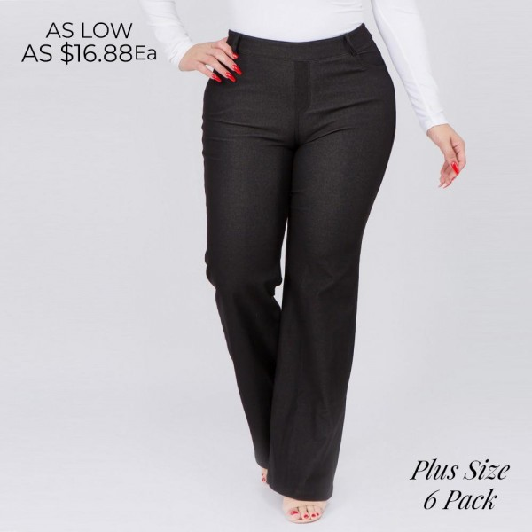 "Mid rise plus size pull on style flare jeggings with front and back pocket details.  • Pull-on elasticized waistband • Belt loops and 4 functional pockets • Flare hem • Jean style construction • Lightweight and breathable cotton-blend material for all day comfort • Super stretchy and soft • Full length • Pull up Style  - Pack Breakdown: 6pcs / pack - Sizes: 2-XL / 2-2XL / 2-3XL - Inseam approximately 32"" L - Composition: 70% Cotton, 25% Polyester, 5% Spandex"