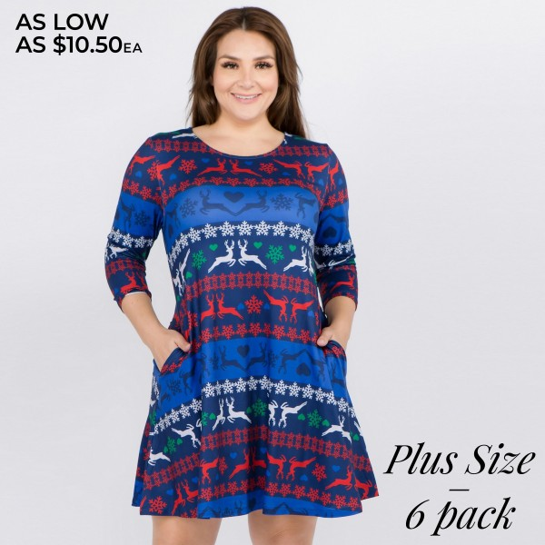 """Women's plus size Christmas fair isle reindeer print A-Line dress with pocket details.   • 3/4 length sleeves • Crew neck • Two side seam pockets to keep your hands warm • A-line silhouette • Fair isle reindeer print • Soft and comfortable fabric with stretch • Perfect for styling with heels or booties • Imported  - Pack Breakdown: 6pcs / pack - Sizes: 2-XL / 2-2XL / 2-3XL - Approximately 34"""" L - 95% Polyester, 5% Spandex"""