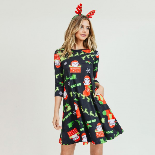 """Women's Christmas Ho Ho Ho Santa print A-Line dress with pocket details.  • 3/4 length sleeves • Crew neck • Two side seam pockets to keep your hands warm • A-line silhouette • Ho Ho Ho Santa print • Soft and comfortable fabric with stretch • Perfect for styling with heels or booties • Imported  - Pack Breakdown: 6pcs / pack - Sizes: 2S / 2M / 2L - Approximately 34"""" L - 95% Polyester, 5% Spandex"""