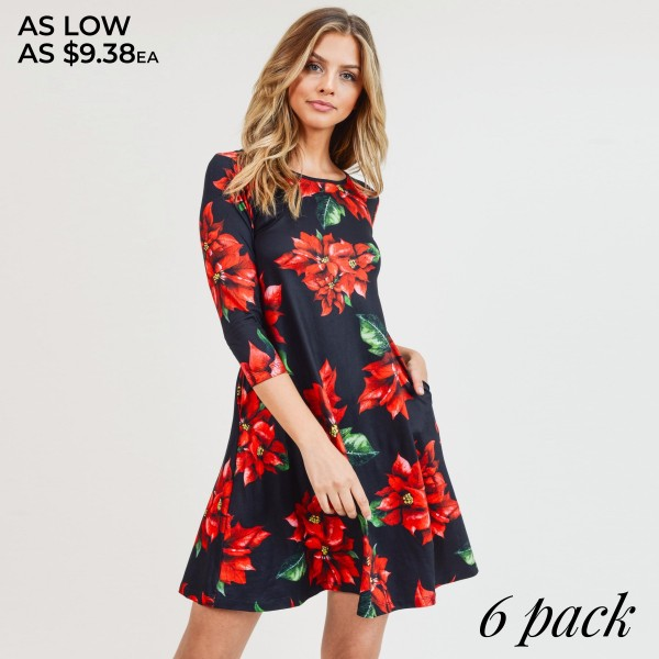 """Women's Christmas poinsettia flower print A-Line dress with pocket details.  • 3/4 length sleeves • Crew neck • Two side seam pockets to keep your hands warm • A-line silhouette • Poinsettia flower print • Soft and comfortable fabric with stretch • Perfect for styling with heels or booties • Imported  - Pack Breakdown: 6pcs / pack - Sizes: 2S / 2M / 2L - Approximately 34"""" L - 95% Polyester, 5% Spandex"""