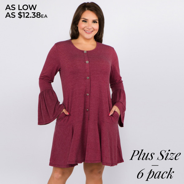 """Solid color plus size button down ruffle hem dress.   • Round neckline  • Long bell sleeves  • Faux button down front  • Side seam pockets to keep your hands warm  • Knee-length hem with ruffle  • Soft and comfortable fabric  • Perfect for any day or night occasion  • Imported   - Pack Breakdown: 6pcs / pack - Sizes: 2-XL / 2-1X / 2-2X - Approximately 36"""" L - Composition: 62% Polyester, 34% Rayon, 4% Spandex"""