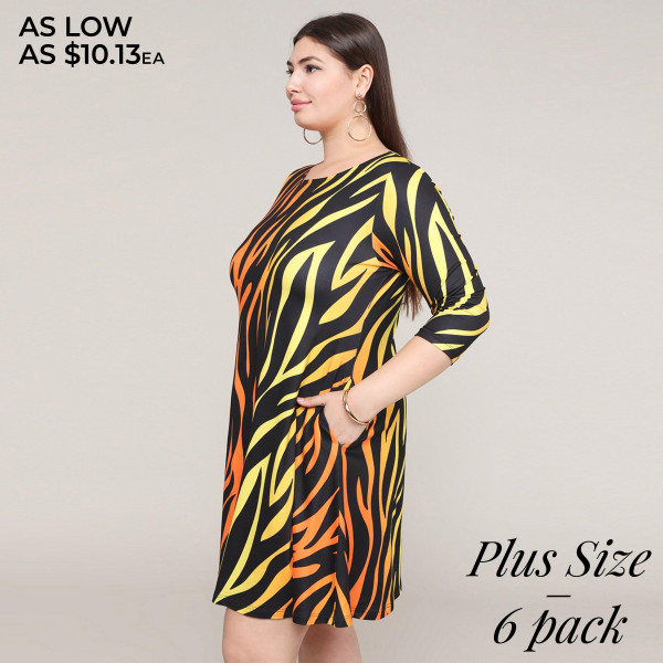 """Women's plus size zebra print A line dress with pocket details.  • 3/4 length sleeves • Crew neck • Two side pockets to keep your hands warm • A-line silhouette • Soft and comfortable fabric with stretch • Perfect for styling with sneaker or heels • Imported  - Pack Breakdown: 6pcs / pack - Sizes: 2-XL / 2-2XL / 2-3XL - Approximately 34"""" L - Composition: 95% Polyester, 5% Spandex"""