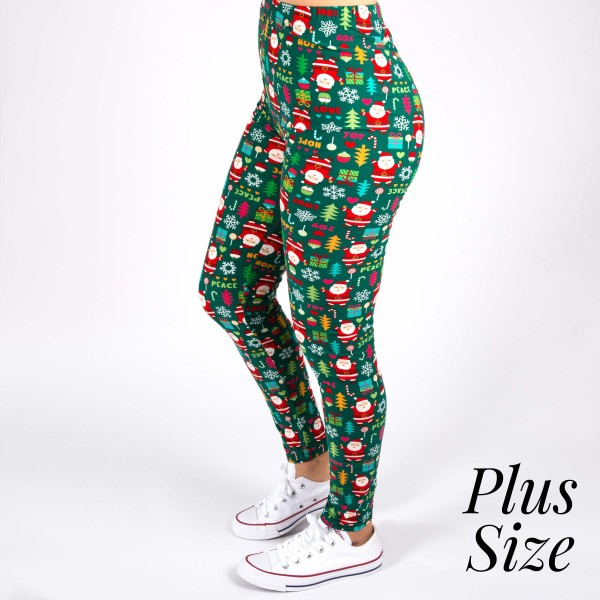"""New Mix brand plus size Christmas printed peach skin leggings.  - Full length - Seamless - Lightweight - 1"""" waistband  - One size fits most 16-22 - Inseam approximately 26"""" in length - 92% Polyester, 8% Spandex"""