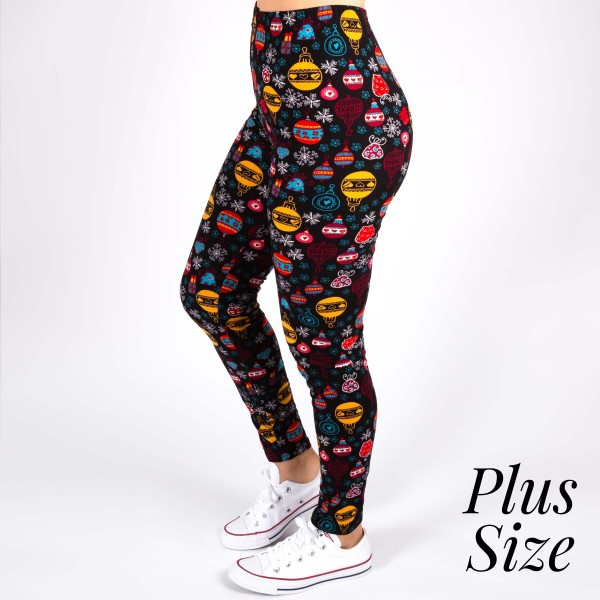 Plus Size Christmas Leggings.New Mix Brand Plus Size Christmas Printed Peach Skin