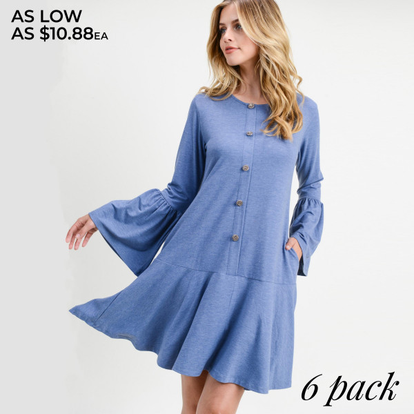 """Solid color button down ruffle hem dress.   • Round neckline  • Long bell sleeves  • Faux button down front  • Side seam pockets to keep your hands warm  • Knee-length hem with ruffle  • Soft and comfortable fabric  • Perfect for any day or night occasion  • Imported   - Pack Breakdown: 6pcs / pack - Sizes: 2S / 2M / 2L - Approximately 35"""" L - Composition: 62% Polyester, 34% Rayon, 4% Spandex"""