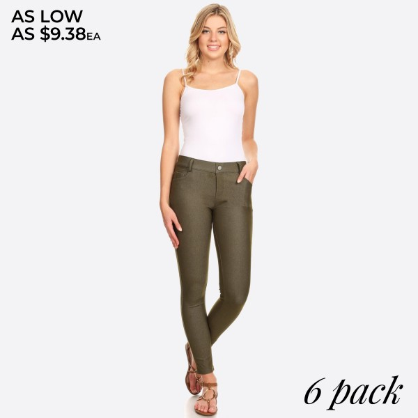 """Denim like pull on style jeggings with front and back pockets.  • Full length jeggings featuring a light sheen and jean-style construction  • Lightweight, breathable cotton-blend material for all day comfort  • Belt loops with 5 functional pockets  • Shake Head Button  • Super Stretchy  • Pull up Style    - Pack Breakdown: 6pcs / pack - Size: 2S / 2M / 2L  - Inseam approximately 29"""" L - 70% Cotton, 25% Polyester, 5% Spandex"""