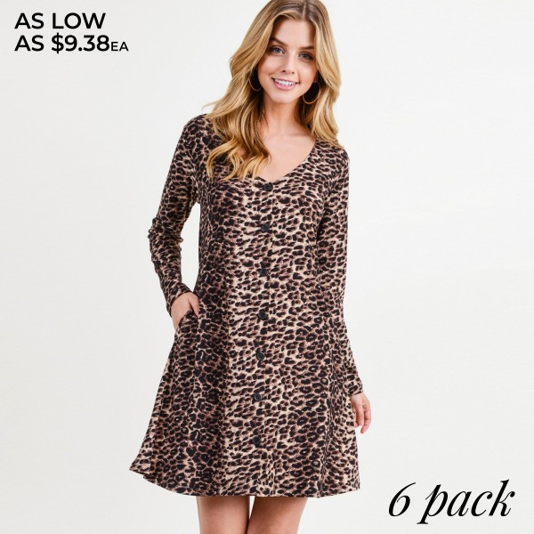 """Women's leopard print faux button down A line dress.  • Long sleeves; v-neckline • Faux button front placket • Two side seam pockets • Leopard print throughout • A-line silhouette • Soft and comfortable fabric with stretch • Above the knee length hem • Imported  - Pack Breakdown: 6pcs / pack  - Sizes: 2S / 2M / 2L - Approximately 34"""" L - 95% Polyester, 5% Spandex"""