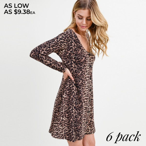 "Women's leopard print faux button down A line dress.  • Long sleeves; v-neckline • Faux button front placket • Two side seam pockets • Leopard print throughout • A-line silhouette • Soft and comfortable fabric with stretch • Above the knee length hem • Imported  - Pack Breakdown: 6pcs / pack  - Sizes: 2S / 2M / 2L - Approximately 34"" L - 95% Polyester, 5% Spandex"