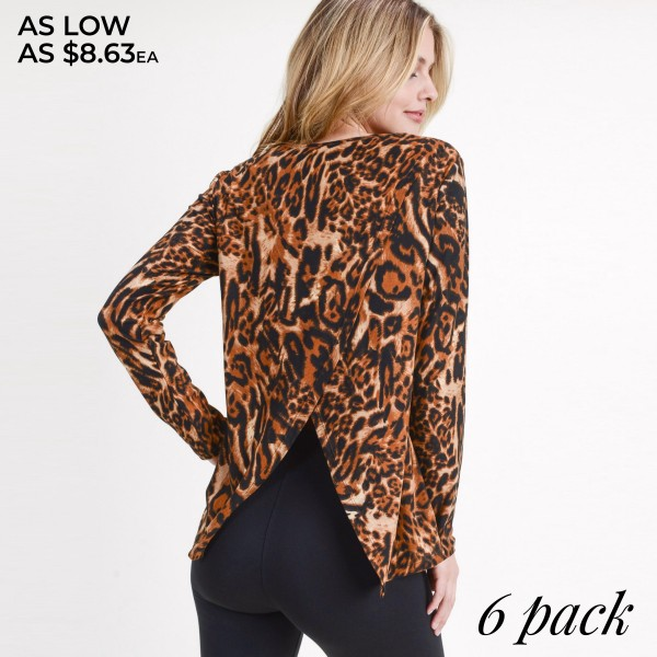 "Women's long sleeve leopard print surplice back top.  • Long sleeves • Round neckline • Leopard print • Surplice back • Soft and comfortable fabric with stretch • Style with jeans and booties for a night out look • Imported  - Pack Breakdown: 6pcs/pack - Sizes: 2S / 2M / 2L - Approximately 24"" in length - Back split approximately 11.5"" in length - 95% Polyester, 5% Spandex"