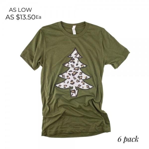 Wholesale bella Canvas short sleeve leopard print Christmas tree boutique graphi