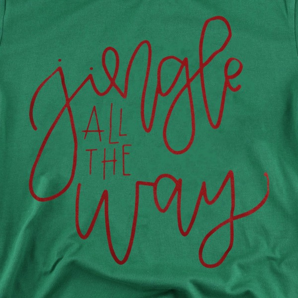 "Green Anvil Lightweight short sleeve ""Jingle all the way"" Christmas printed boutique graphic tee.  - Pack Breakdown: 6pcs / pack - 1-S / 2-M / 2-L / 1-XL - 100% Cotton"