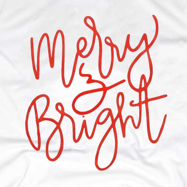 "White Anvil Lightweight short sleeve ""Merry & Bright"" Christmas printed boutique graphic tee.  - Pack Breakdown: 6pcs / pack - 1-S / 2-M / 2-L / 1-XL - 100% Cotton"