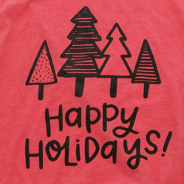 "Heather Coral Anvil Lightweight short sleeve Christmas tree ""Happy Holidays!"" printed boutique graphic tee.  - Pack Breakdown: 6pcs / pack - 1-S / 2-M / 2-L / 1-XL - 35% Cotton, 65% Polyester"