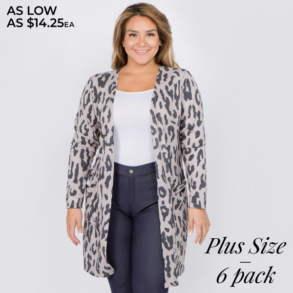 "Women's plus size lightweight beige leopard print cardigan.  • Long sleeves • Open front design • Two pockets for keeping your hands warm • Leopard print • Long length hem • Soft and comfortable • Imported  - Pack Breakdown: 6pcs/pack - Sizes: 2-XL / 2-2XL / 2-3XL - Approximately 38"" in length - 80% Polyester, 16% Cotton, 4% Spandex"