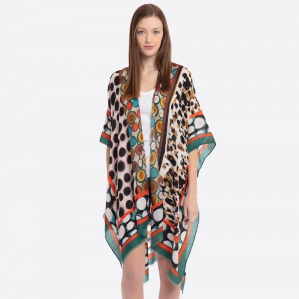 "Leopard print mosaic kimono.  - One size fits most 0-14 - Approximately 37"" in length - 100% Polyester"